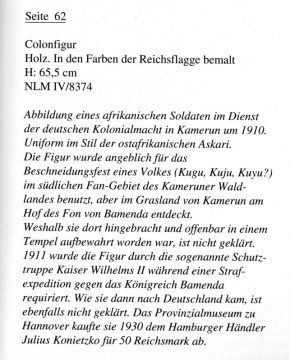 Götter aus Afrika 2, Hannover 1993, no.62 Colon Text