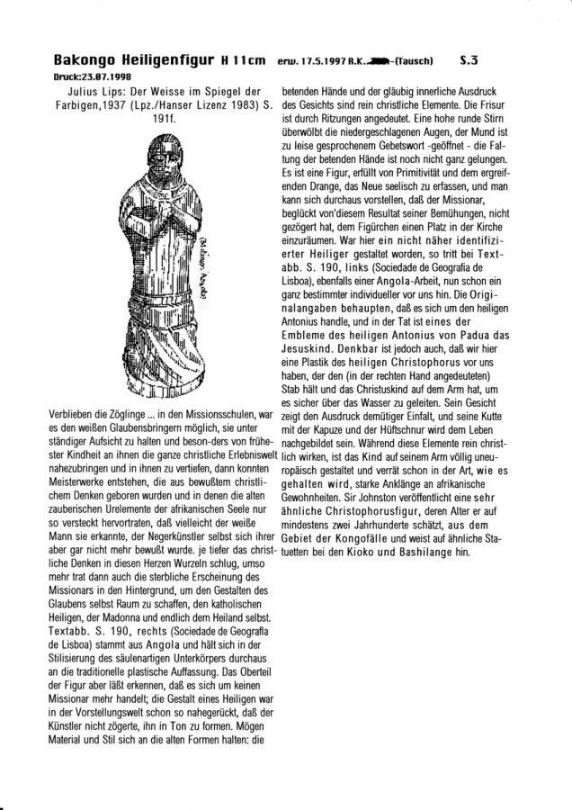 Katalog 1998 S.3, Julius Lips: Der Weisse im Spiegel 1937,191 f.