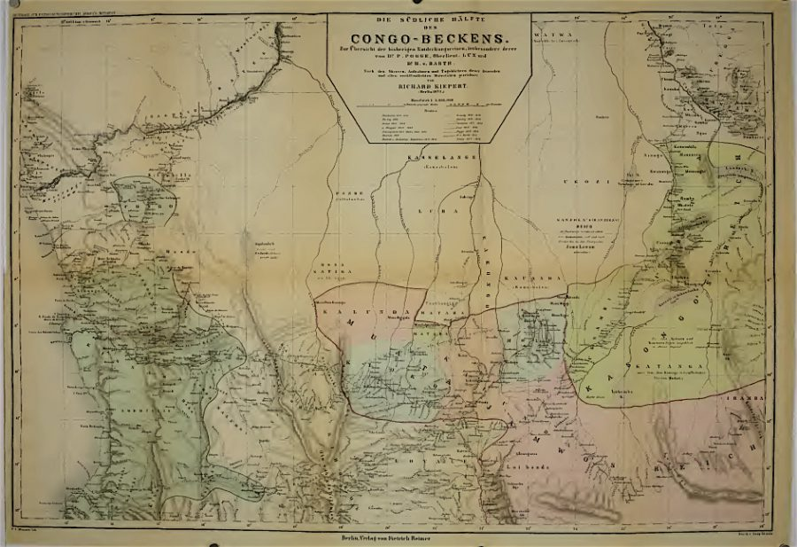 oben links der Kongofluss, auf der Nase unterhalb der Mündung liegt Luanda, unten rechts Katanga