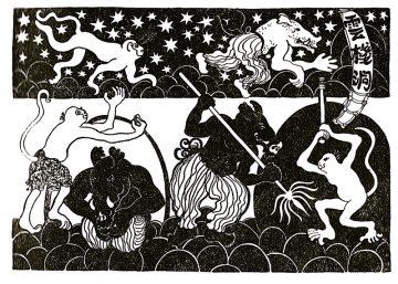"""Monkeys Pilgerfahrt"" 1947 Illustr.p. 235, 17.Kap., von Georgette Boner"