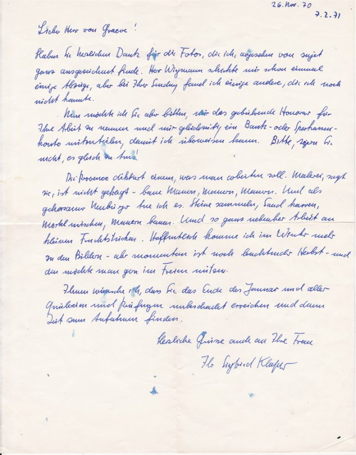 Klapper Brief 26.11.70