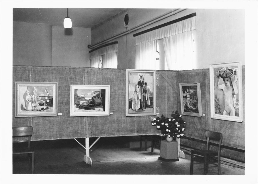 Saal der Vogtländ. Baumwollspinnerei, Stellwand F.W., 1949