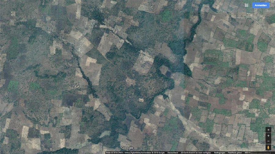 Siedlung bei Korhogo_Google 2018-04 1:25 Tsd.