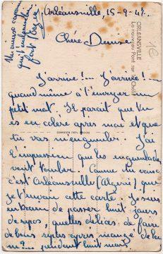 Postkarte aus Orleansvile 1947_0001